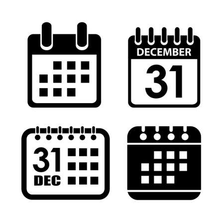 Calendar vector icon set isolated on white background