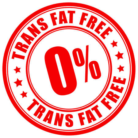 Etichetta senza grassi trans su sfondo bianco