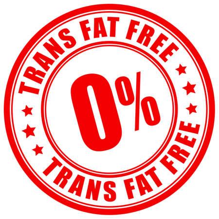 Etiqueta libre de grasas trans sobre fondo blanco.