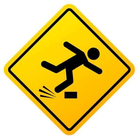 Trip hazard caution sign isolated on white backgrounf 일러스트