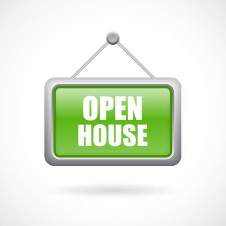 Open house vector sign on white background
