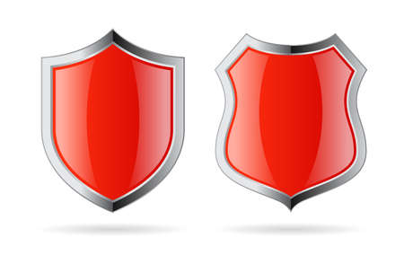 Red glass shield vector icon set isolated on white background