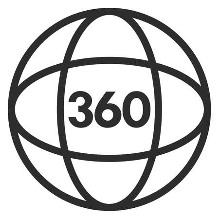 Video tour 360 degree vector icon isolated on white background