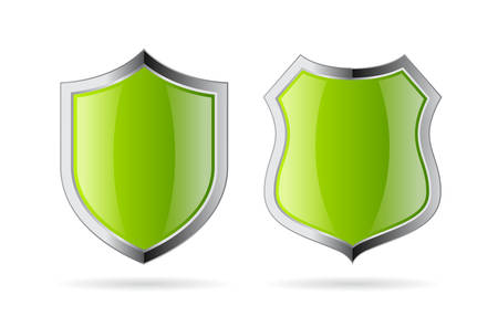 Green glossy security shield icon isolated on white background