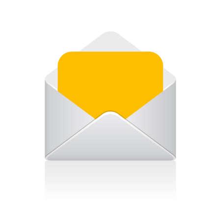 Icona di vettore lettera busta aperta isolato su sfondo bianco