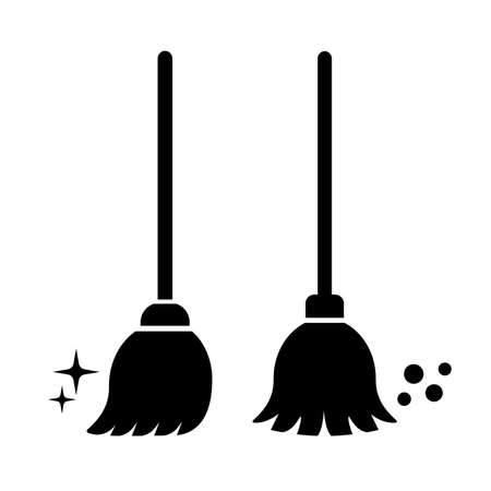 Broom clean vector icon set isolated on white background Banco de Imagens - 136988796