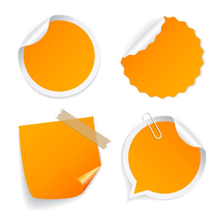 Yellow note paper icon set isolated on white background Illustration