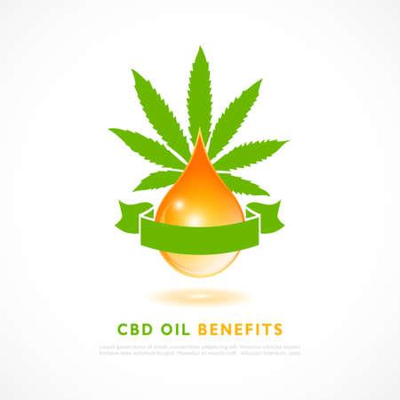 Cbd oil poster design on white background Illusztráció