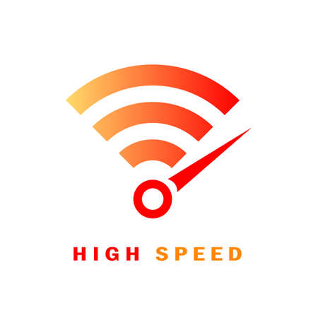 High speed internet vector logo on white background