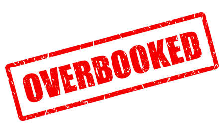 Overbooked vector stamp on white background