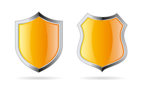 Yellow shield vector icon set isolated on white background