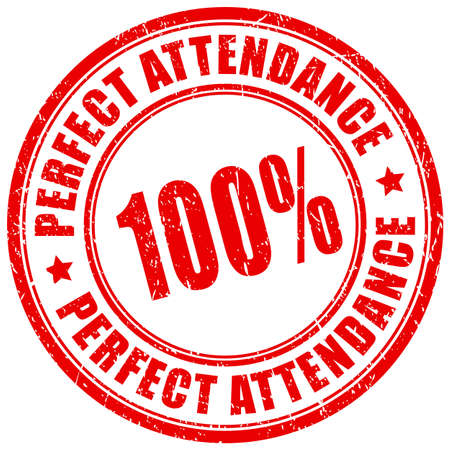 Perfect attendance vector stamp isolated on white background