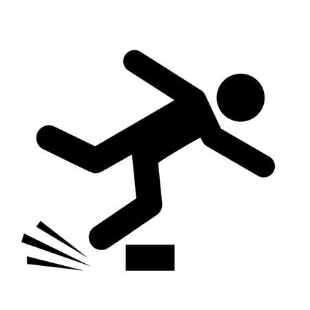 Tripping man vector pictogram isolated on white background