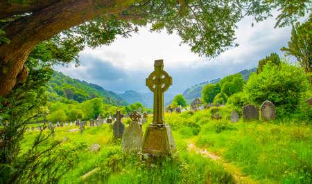 Old irish celtic cemetery in Glendalough, Ireland