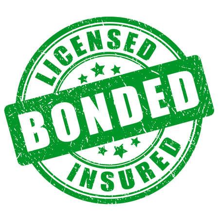 Green stamp licensed bonded insured on white background