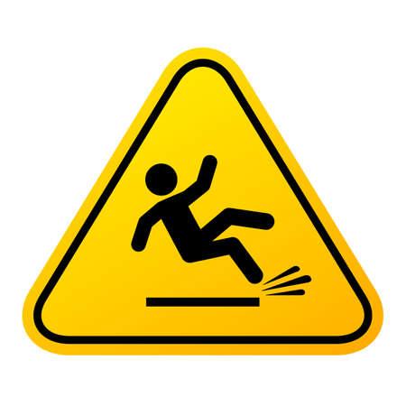 Slippery floor sign, vector illustration isolated on white background