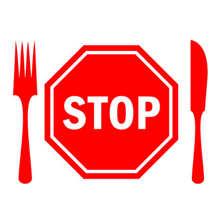 Stop eating icon, diet concept Illustration