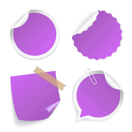 Violet blank stickers set isolated on white background