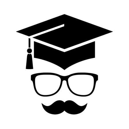 Student face vector icon isolated on white background