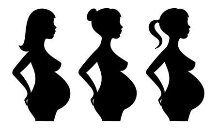 Pregnant woman silhouette icons set isolated on white background