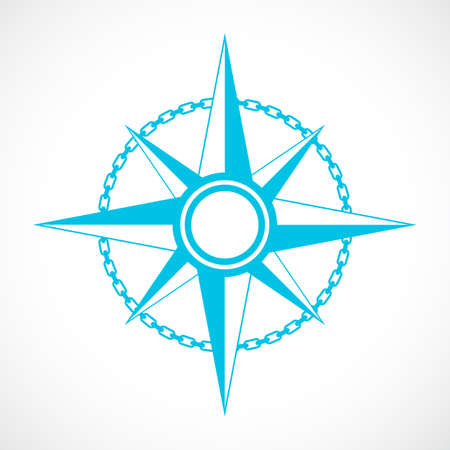 Wind rose nautical vector sign isolated on white background