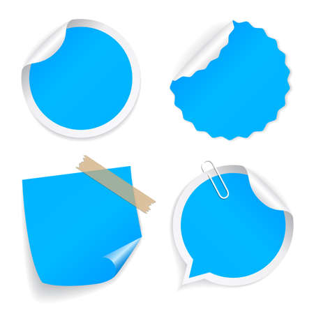 Blue color vector stickers set isolated on white background