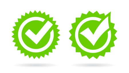 Green tick icons set, vector illustration on white background