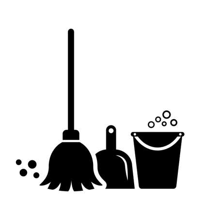 Cleaning tools vector icon isolated on white background