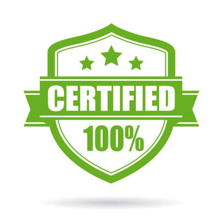 Emblema di vettore certificato verde isolato su sfondo bianco