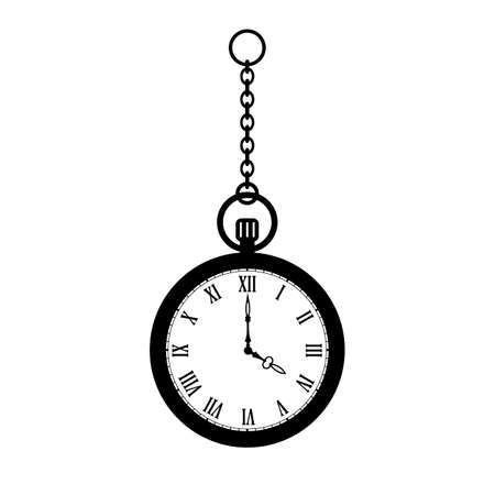 Pocket watch with chain vector icon isolated on white background