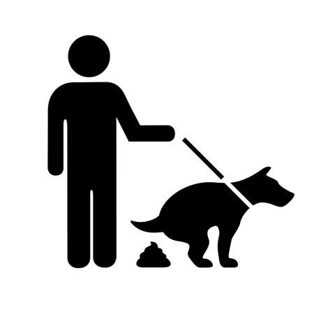 Dog pooping vector pictogram isolated on white background Vector Illustratie