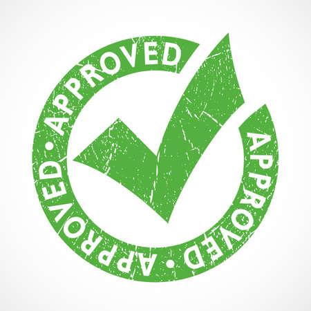 Grunge approved emblem isolated on white background