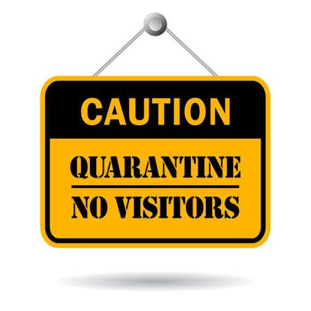 Signe d'avertissement de quarantaine isolé sur fond blanc Vecteurs
