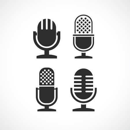 Microphone vector icons set isolated on white background