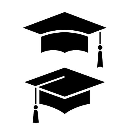 Mortar board vector icon isolated on white background Vector Illustratie