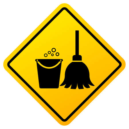 Cleaning in progress warning sign isolated on white background Ilustração