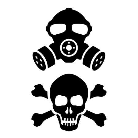 Toxic danger vector signs set isolated on white background
