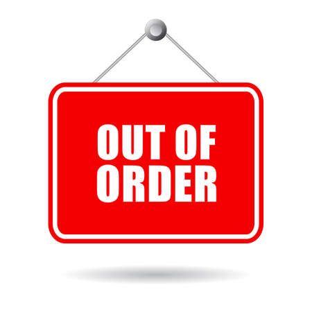 Out of order door sign isolated on white background