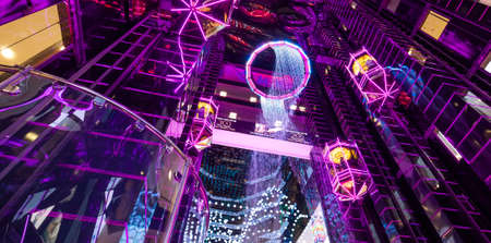 MOSCOW, RUSSIA - August 10, 2019: Futuristic interior of Evropeyskiy shopping mall
