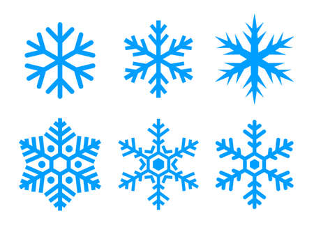 Snowflake vector icons set isolated on white background