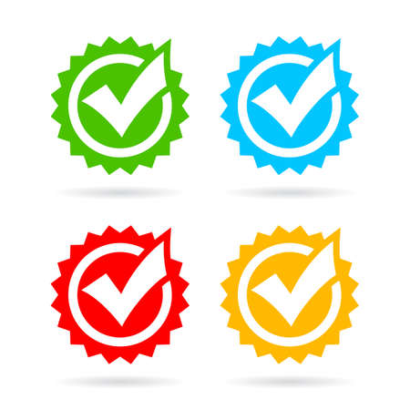 Quality control vector tick icons isolated on white background