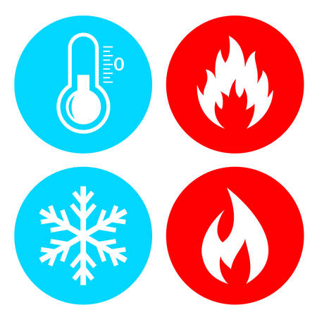 Hod and cold vector icon set isolated on white background