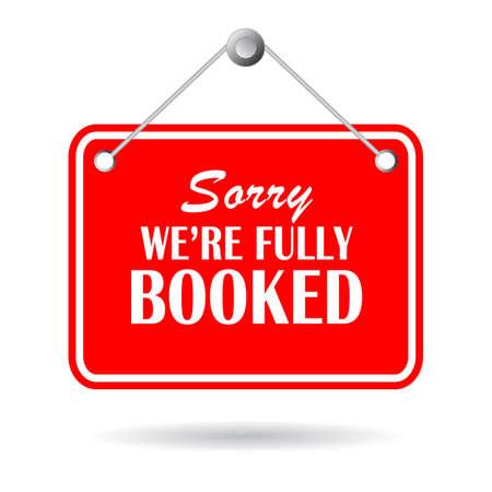 Sorry we are fully booked hanging sign isolated on white background Vektorgrafik
