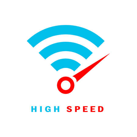 Fast wifi internet connection vector logo on white background