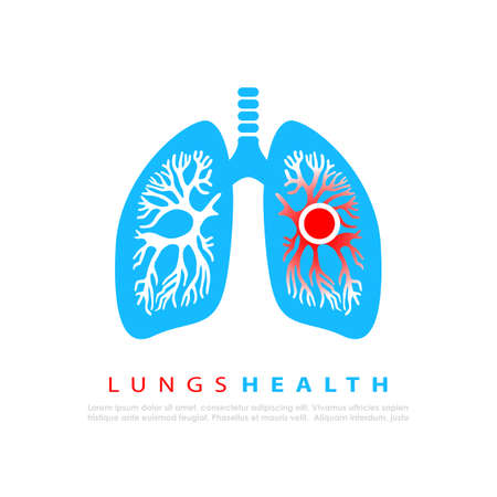 Lungs infection vector logo isolated on white background