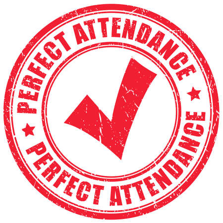 Perfect attendance grunge imprint on white background