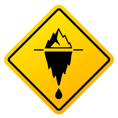 Climate change danger, caution yellow sign on white background Illustration