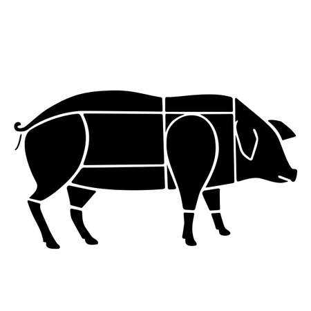 Pork cut diagram isolated on white background