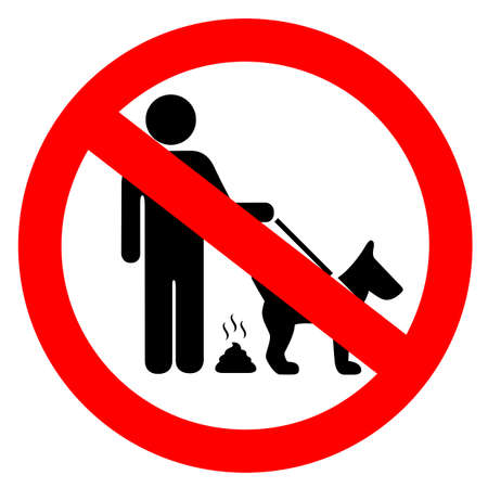 No dog pooping security vector sign isolated on white background Ilustración de vector