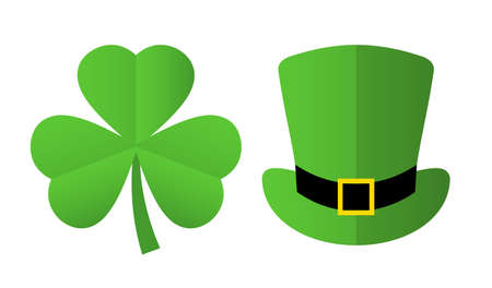 St Patricks day symbols clover and leprechaun hat, vector illustration